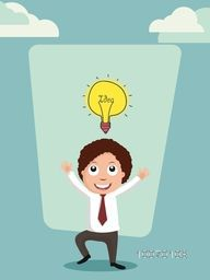 Illustration of a happy dancing businessman with bulb for idea concept on stylish background.