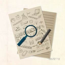 Creative illustration of business infographic elements with magnifying glass and pencil on notebook paper.