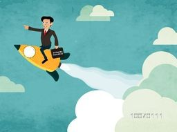 Creative illustration of a businessman flying on rocket and holding growing business bag for start up.