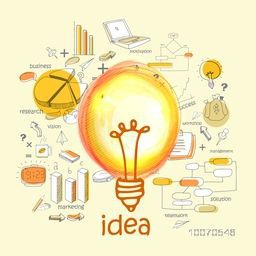 Creative various Idea infographic elements with bulb.