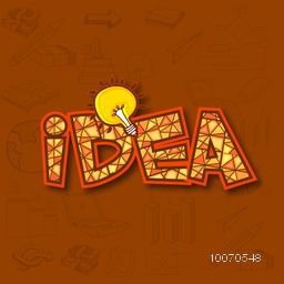 Illustration of business infographic elements with bulb for Idea concept.