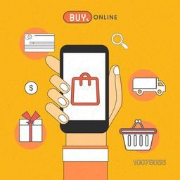 Illustration of human hand holding smartphone with other elements for Online Shopping concept.