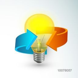 Creative shiny light bulb with glossy 3D arrows for Business Idea concept.