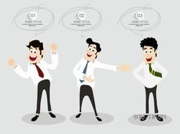 Creative illustration of happy Businessmen in different poses on grey background.