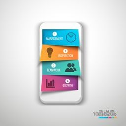 Creative infographic element layout with illustration of smartphone on grey background.
