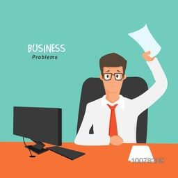 Creative Business Problem Solution concept with illustration of a young worried Businessman holding a paper at office.