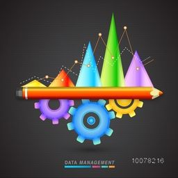 Glossy colorful statistical graph with cog wheel and pencil on stylish background for Business Data Management.