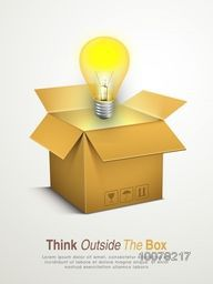 Glossy light bulb coming out from an open box for Business Idea concept.