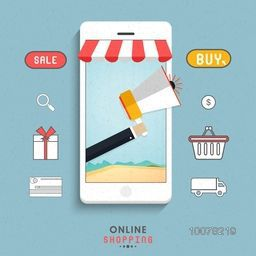 Creative illustration of smartphone with other infographic elements for Online Shopping concept.