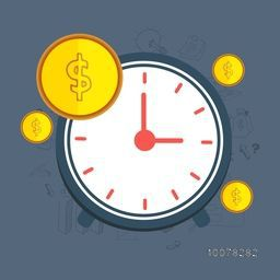 Time is Money concept with illustration of a clock and dollar coins for Business.