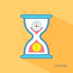 Time is Money concept with illustration of creative sand clock for Business.