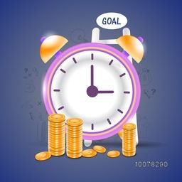 Creative glossy clock with stacks of dollar coins on infographic elements decorated background for Time is Money concept.