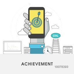 Human hand holding smartphone with other elements for Business Achievement concept.