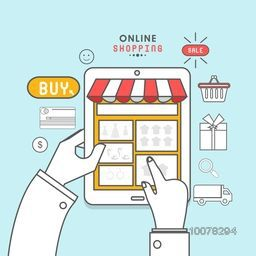 Creative illustration of human hand with tablet and other elements for Online Shopping concept.
