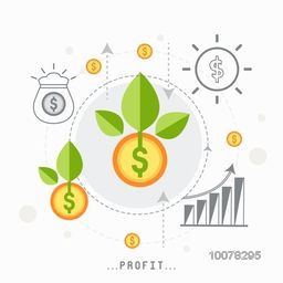 Creative illustration of dollar coins with green leaves showing Business Profit.