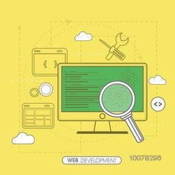 Web Development concept with digital devices on yellow background.