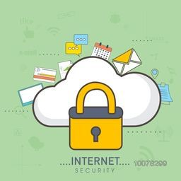Internet Security concept with illustration of a lock on cloud and other infographic elements.
