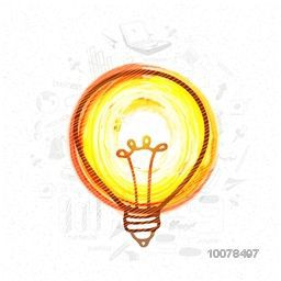 Creative light bulb on infographic elements decorated background for Idea concept.