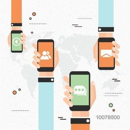 Creative illustration of human hands holding smartphones with web symbols for Business.