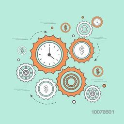 Time is Money concept with creative clock and dollar symbols in cog wheel shape for Business.