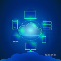 Cloud computing concept with glossy illustration of digital devices connected with cloud on blue background.