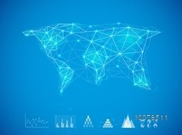 Creative illustration of World Map on sky blue background for Global Business concept.