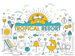 Set of various creative Tropical Resort doodles design on grey background.