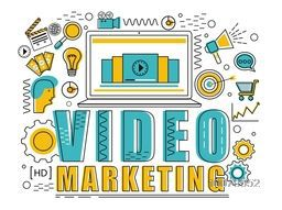 Various creative Infographic elements with laptop for Video Marketing concept.