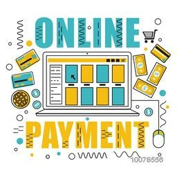 Creative Infographic elements with laptop showing Online Payment options.