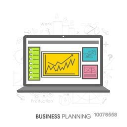 Creative illustration of a laptop with infographic elements for Business Planning concept.