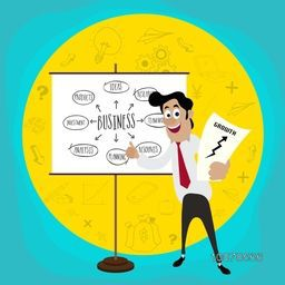 Young happy business man pointing towards Business growth strategies on white board with infographic elements.