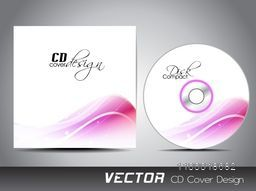 CD Cover design with pink waves for business concept.