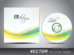 CD Cover design with glossy colorful waves for business.