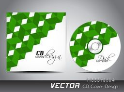 CD Cover with green abstract design for business concept.