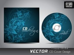 Blue CD Cover design with beautiful floral decoration.