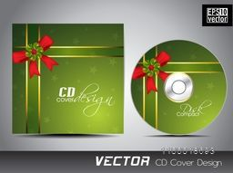Shiny green CD Cover design with glossy ribbon and bow decoration.