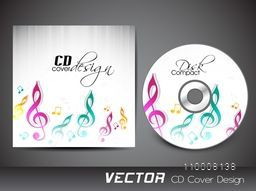 Colorful musical notes decorated CD Cover design.
