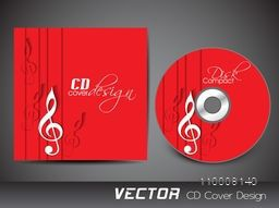 Red CD Cover design with musical notes.