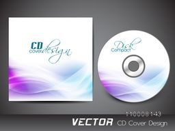 CD Cover design with shiny abstract waves.
