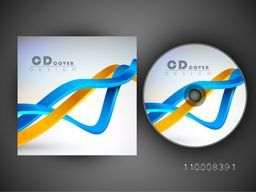 Glossy waves decorated creative CD Cover design.