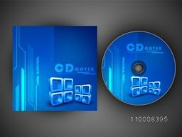 Blue CD Cover layout with abstract design for business concept.