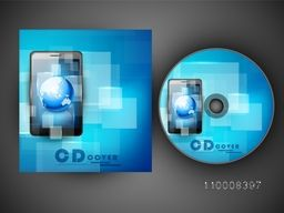 Abstract blue CD Cover design with illustration of digital tablet.