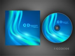 Blue CD Cover design with glossy waves for your business.