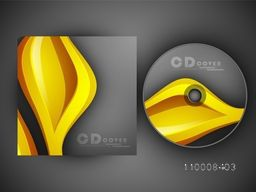Creative CD Cover layout with abstract golden waves.