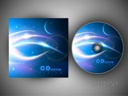 Shiny abstract waves decorated CD Cover design for your business.