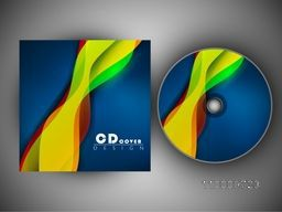 CD Cover design with abstract colorful waves for your business.
