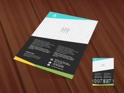 Stylish One Page Flyer, Banner or Pamphlet with image space for your Business on wooden background.