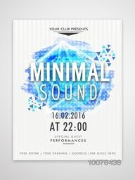 Creative abstract design decorated Template, Banner or Flyer presentation with date and time details for Music Party celebration.