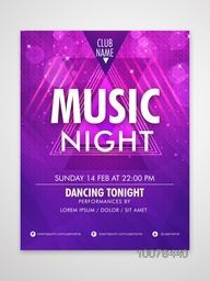 Music Night Template, Banner or Flyer design with date and time details.