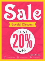 Sale Flyer, Sale Banner, Sale Poster, Flat 20% Off, Special Discount Offer.Vector illustration.
